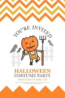 Farmer halloween uitnodigingskaart voor kostuum partij cartoon