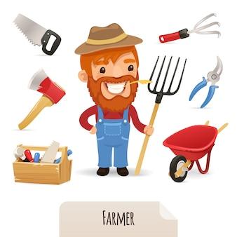 Farmer icons set