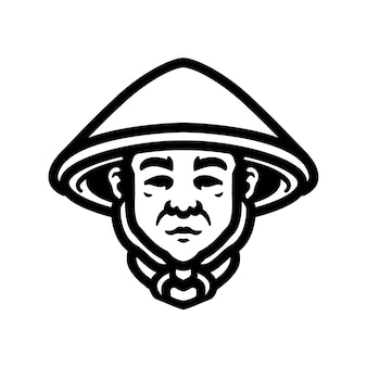 Farmer logo close-up ontwerp, perfect voor logo, icoon, print of etc