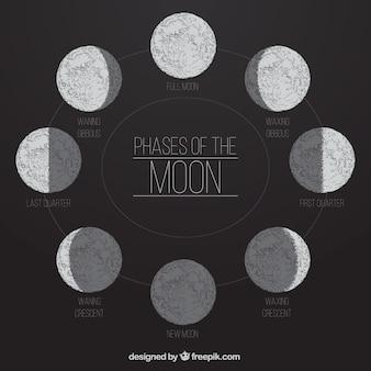 Fasen van de maan in de hand getekende stijl