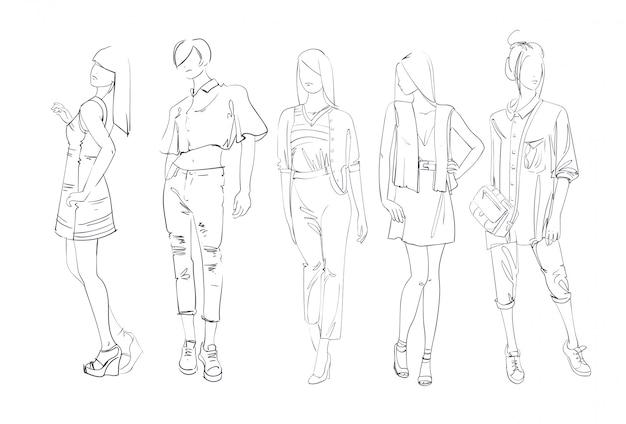 Fashion collectie kleding set van mannelijke en vrouwelijke modellen dragen trendy kleding schets