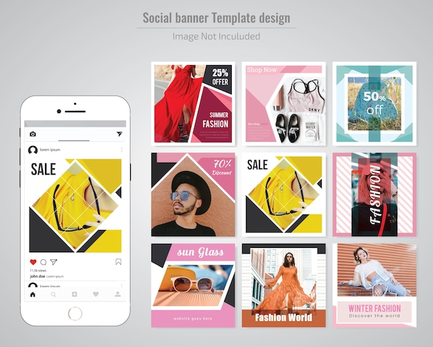 Fashion discount social media post sjabloon