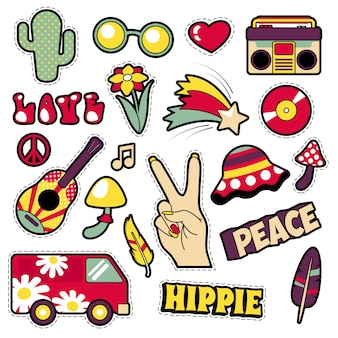 Fashion hippie badges, patches, stickers - van mushroom guitar and feather in pop art comic style. illustratie