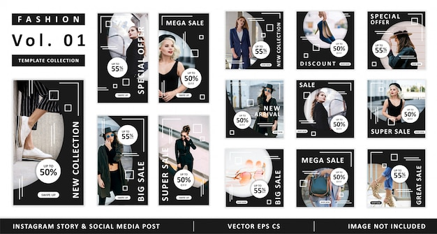 Fashion instagram-verhaal en sociale media post-sjablooncollectie