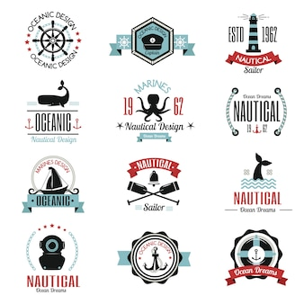 Fashion nautisch logo zeilen thema label