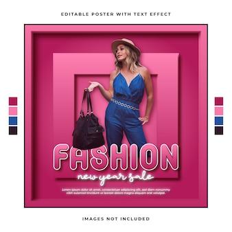 Fashion new year sale-promotie-sjabloon met bewerkbaar teksteffect