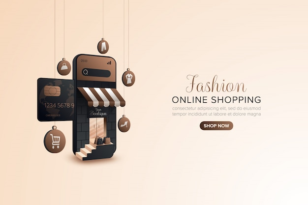 Fashion shopping online promotie op mobiel of web
