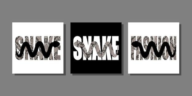 Fashion t-shirt prints set met slangensilhouet en slangenleer patroon