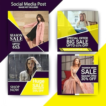 Fashion week verkoop sociale media post sjabloon