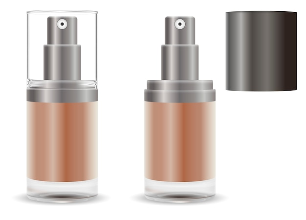 Fasial base dispenser pomp spray cosmetische fles.