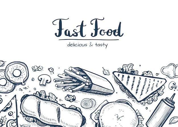 Fast-food achtergrond met snack collectie