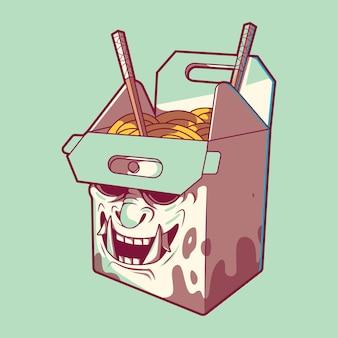 Fast food box samurai illustratie. fast food, levering, grappig ontwerpconcept.