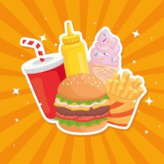 Fast food bundel illustratie