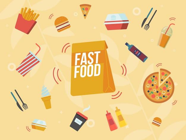 Fast food cafe maaltijden menu flat banner