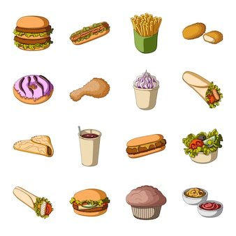 Fast-food cartoon elementen in set collectie voor design