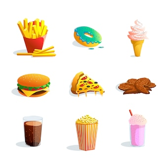 Fast-food cartoon set