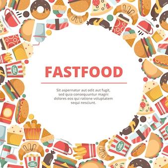 Fast food cirkel achtergrond. hamburger maaltijd koude dranken ijs pizza en sandwich gekleurde platte illustraties