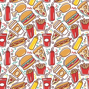 Fast food doodle naadloze patroon
