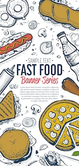 Fast-food doodles verticale banner menu