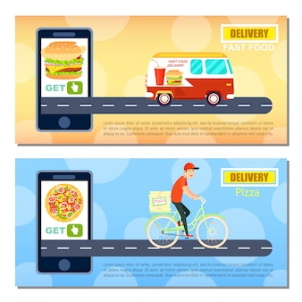 Fast food en pizza levering banner sjabloon set