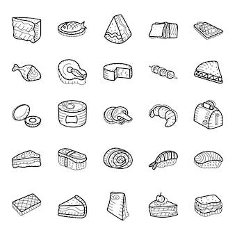 Fast-food en zeevruchten hand getrokken pictogrammen pack