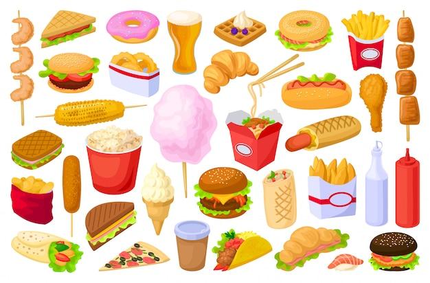 Fast food geïsoleerde cartoon set pictogram. snack cartoon ingesteld pictogram.