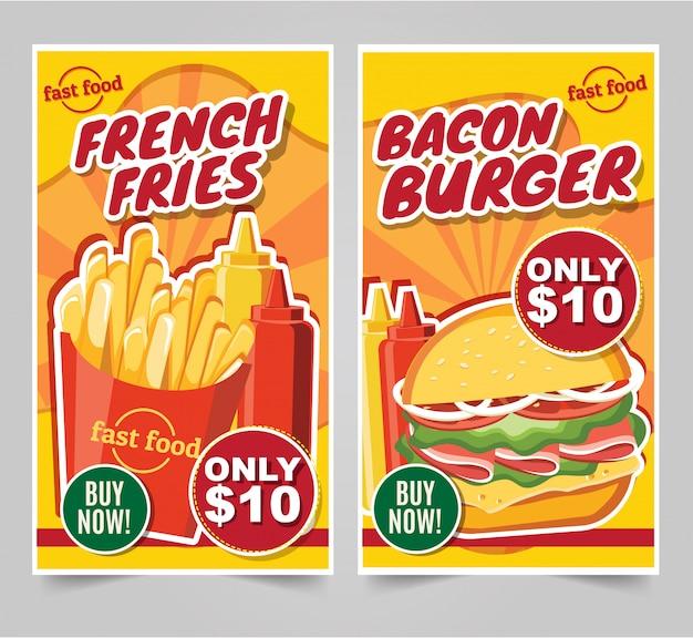 Fast-food hamburger, fast-food maaltijden banners smakelijke set fastfood vector