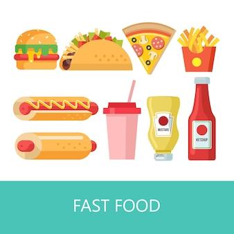 Fast food. heerlijk eten. vectorillustratie in vlakke stijl. een set van populaire fastfoodgerechten. hamburger, taco's, hotdog, milkshake, pizza, frites, mosterd en ketchup.