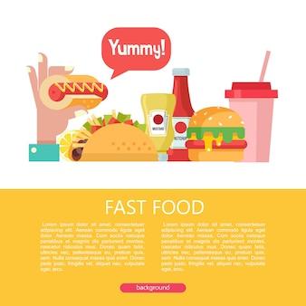 Fast food. heerlijk eten. vectorillustratie in vlakke stijl. een set van populaire fastfoodgerechten. hotdog, hamburger, taco's. mosterd en ketchup. drank en milkshake. illustratie met ruimte voor tekst.