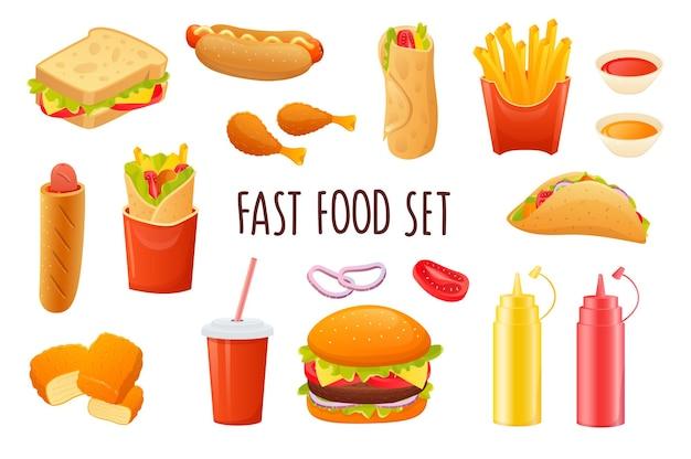 Fast food icon set in realistisch 3d-ontwerp bundel van sandwich hotdog frietjes taco's frisdrank