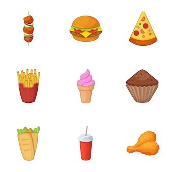 Fast-food iconen set, cartoon stijl