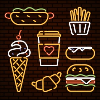 Fast food illustratie neon iconen fast food vector hotdog ijs hamburger donut