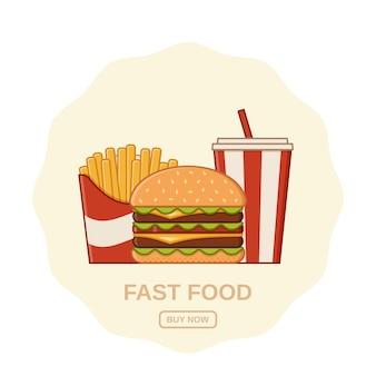 Fast food in flat line art design. illustratie.