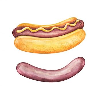 Fast-food maaltijd aquarel op witte achtergrond.