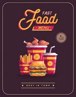 Fast food menu poster vectorillustratie
