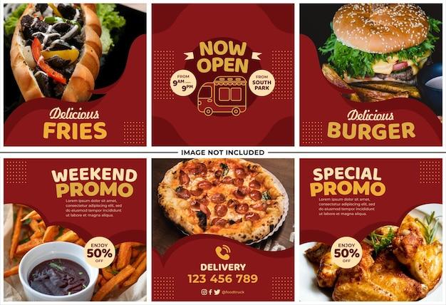Fast food menu promotie instagram post set
