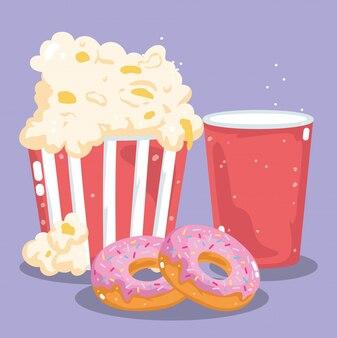 Fast food menu restaurant ongezonde afhaalmaaltijden frisdrank kopje popcorn en donuts illustratie