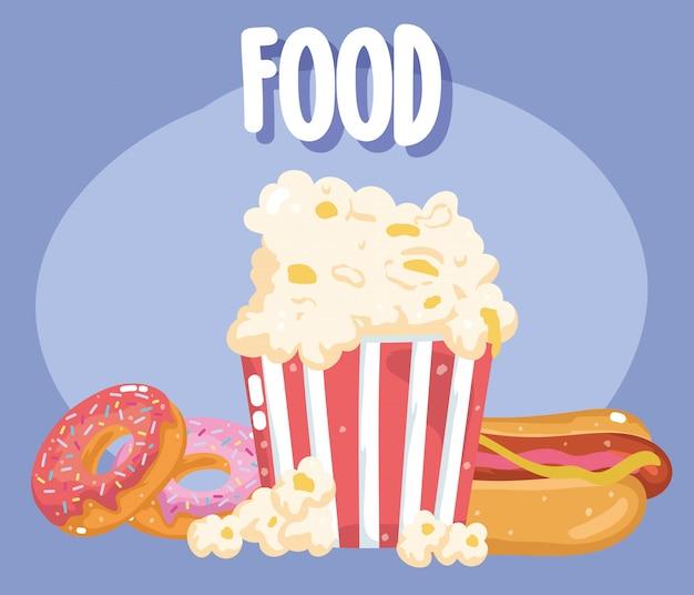 Fast food menu restaurant ongezonde popcorn hotdog en donuts illustratie