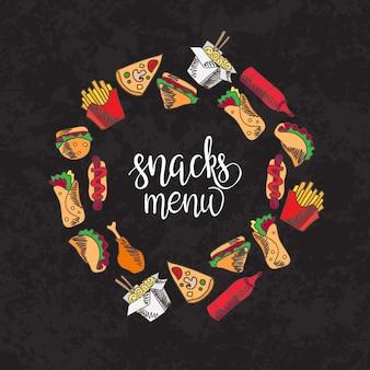 Fast-food menu. set van pictogrammen op de achtergrond. frietjes, hamburger, zoete frietjes