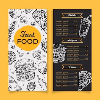 Fast food menusjabloon