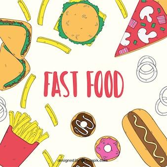 Fast food, met de hand getekende achtergrond
