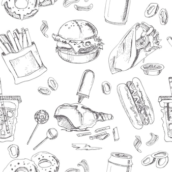 Fast food naadloze patroon. schetsen. vintage illustratie voor identiteit, design, decoratie, verpakt product en interieurdecoratie