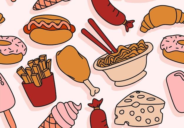 Fast food naadloze patroon