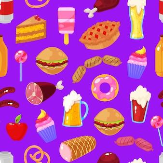 Fast food op violette achtergrond