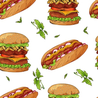 Fast food patroon. hand tekenen retro illustratie. vintage design.