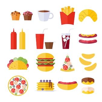 Fast-food pictogrammen instellen - vlakke stijl.