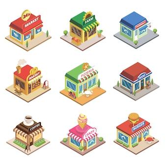 Fast food restaurant en winkelgebouwen