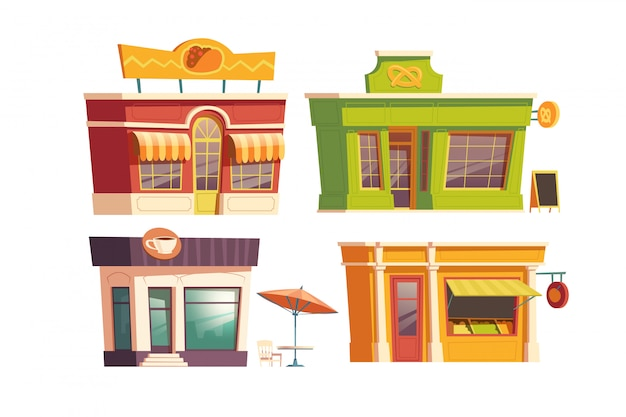 Fast-food restaurant gebouw cartoon
