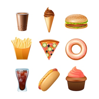 Fast food restaurant menu iconen collectie met donut cupcake en dubbele cheeseburger