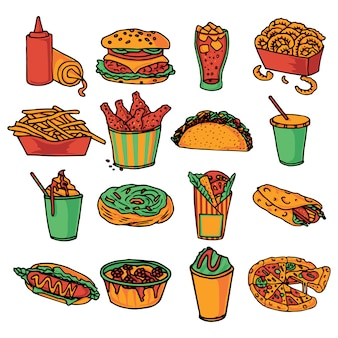 Fast-food restaurant menu iconen collectie